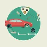 L'automobile parte il servizio di riparazione automatica Vista laterale Illustrazione di vettore Fotografie Stock