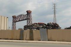 L'automobile parte l'iarda del residuo nel lato sud di Chicago Fotografia Stock