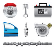 Parti dell'automobile messe immagine stock