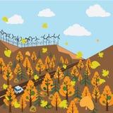 L'automobile passa attraverso il legno di autunno illustrazione vettoriale