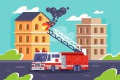 L'automobile piana della caserma dei pompieri mette fuori le costruzioni di una fiamma royalty illustrazione gratis