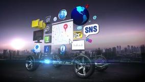 L'automobile smontata, il sistema del infotainment dell'automobile, lo spettacolo dell'automobile, pannello di navigazione, colle illustrazione vettoriale