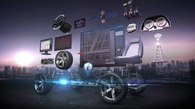 L'automobile smontata, il sistema del infotainment dell'automobile, pannello di navigazione dell'automobile, collega Internet, la illustrazione di stock