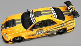 L'automobile sportiva è un coupé della berlina nella prestazione di corsa esclusiva e con un corredo aerodinamico del corpo È int illustrazione vettoriale