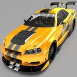 L'automobile sportiva è un coupé della berlina nella prestazione di corsa esclusiva e con un corredo aerodinamico del corpo È int illustrazione di stock