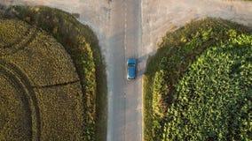 L'automobile sta andando sulla strada al tramonto dai campi agricoli con cereale e grano archivi video