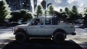 L'automobile va a partire dagli zombie della folla dell'inseguimento Città distrutta Azionamento veloce Concetto di apocalisse de illustrazione vettoriale