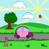 L'automobile va sulla strada nella campagna Immagine Stock