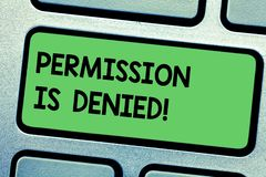 L'autorisation d'écriture des textes d'écriture est niée Le concept signifiant pas a approuvé ou a admis pour regarder ou accéder image stock