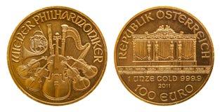 L'Autriche euro de la pièce d'or de 1 once 100 images libres de droits