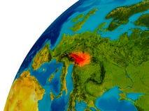L'Autriche sur le globe Photo stock