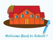 L'autunno è qui, benvenuto di nuovo alla scuola! illustrazione di stock