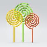 L'autunno degli alberi di turbinio colora le siluette illustrazione vettoriale