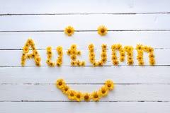 L'autunno di parola si compone di bei wildflowers arancio Fotografia Stock