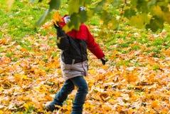 L'autunno ed il ragazzo con il riparo degli alberi gioca le foglie di una persona Fotografia Stock