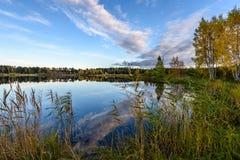 l'autunno ha colorato gli alberi sulla riva del lago con le riflessioni in wa Immagini Stock Libere da Diritti