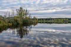 l'autunno ha colorato gli alberi sulla riva del lago con le riflessioni in wa Fotografia Stock Libera da Diritti