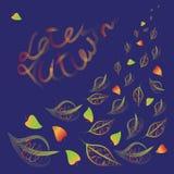 L'autunno tardo Composizione in vettore con testo sulle foglie royalty illustrazione gratis