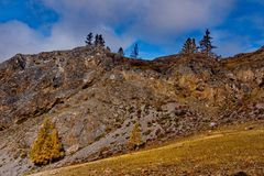L'autunno tardo nelle valli intorno alla cresta del nord di Chui Fotografia Stock