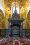 L'auvent au-dessus du site d'assassinat du tsar Alexandre II TheTemple du sauveur sur le sang renversé Images libres de droits