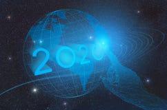 L'avènement de la nouvelle année technologique 2020 sur la terre de planète dans l'espace extra-atmosphérique, représentatio