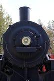 L'avant d'un train noir de vapeur image stock