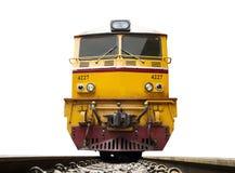 L'avant du train a mené en les locomotives électriques diesel jaunes sur les voies images libres de droits