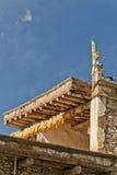 L'avant-toit d'une maison folklorique tibétaine Images libres de droits