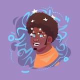 L'avatar masculin arabe d'émotion d'icône de profil, visage musulman de portrait de bande dessinée d'homme voient des étoiles éto illustration de vecteur