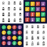 L'avatar tout dans les icônes une noires et la conception plate de couleur blanche a à main levée placé 4 illustration de vecteur