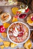L'avena si sfalda al forno con la mela, la ciliegia e la cannella Ingredienti FO fotografia stock libera da diritti