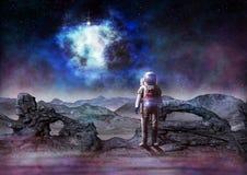 L'avenir de l'exploration d'espace de l'astronaute d'humanité sur l'étranger pl illustration stock