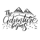 L'aventure commence Carte de lettrage illustration de vecteur