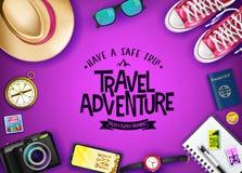 L'aventure de voyage font apprécier un bon voyage chaque message de moment avec les articles réalistes de voyage Photo libre de droits