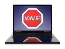L'avertissement d'Adware se connectent l'écran d'ordinateur portable Photos libres de droits