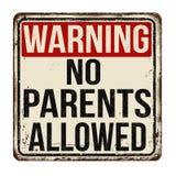 L'avertissement d'aucun parent a permis à vintage le signe rouillé en métal illustration de vecteur
