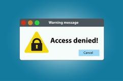 L'avertissement de fenêtre que l'accès est nié Photographie stock