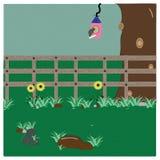 L'aviario fiorisce l'illustrazione del giardino dell'albero del recinto Immagini Stock Libere da Diritti