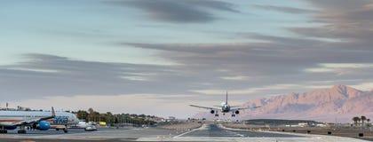 L'avion débarque chez Eilat, Israël Photos libres de droits