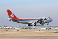 L'avion de charge de Cargolux arrive en Chicago Image libre de droits