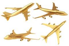 L'avion de Jet Passenger d'or rendu 3d Photographie stock