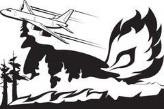 L'avion de lutte contre l'incendie s'éteint l'incendie de forêt illustration de vecteur