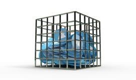 L'avion de papier bleu invente dans le 3d d'isolement par prison rendent Photographie stock