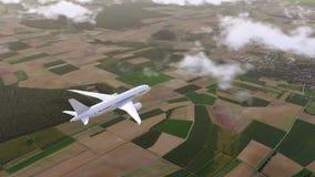 L'avion de passagers de Brandless vole au-dessus des banlieues 4K clips vidéos