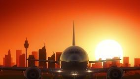 L'avion de Sydney Australia New South Wales enlèvent le fond d'or d'horizon illustration stock
