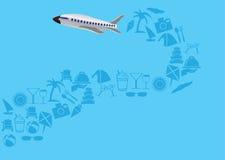 L'avion de vol avec la traînée des icônes de vacances dirigent l'illustration Images stock