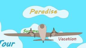 L'avion flotte sur l'océan par le dépassement par les nuages étiquetés - Boucle sans couture illustration de vecteur