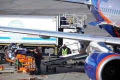 L'avion a fonctionné par les lignes aériennes russes d'Aeroflot sur le terminal D de l'aéroport de Sheremetyevo Photos libres de droits