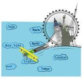 L'avion ouvre la tirette, les vues de différentes villes sont ouverts Concept de course Illustration de vecteur Image stock