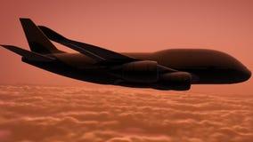 L'avion vole au-dessus des nuages illustration libre de droits